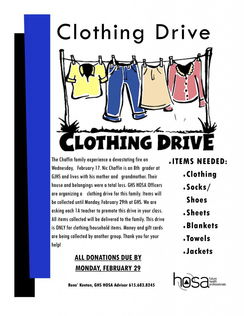 GHS HOSA Club Clothing Drive for Fire Victims | Smith ...