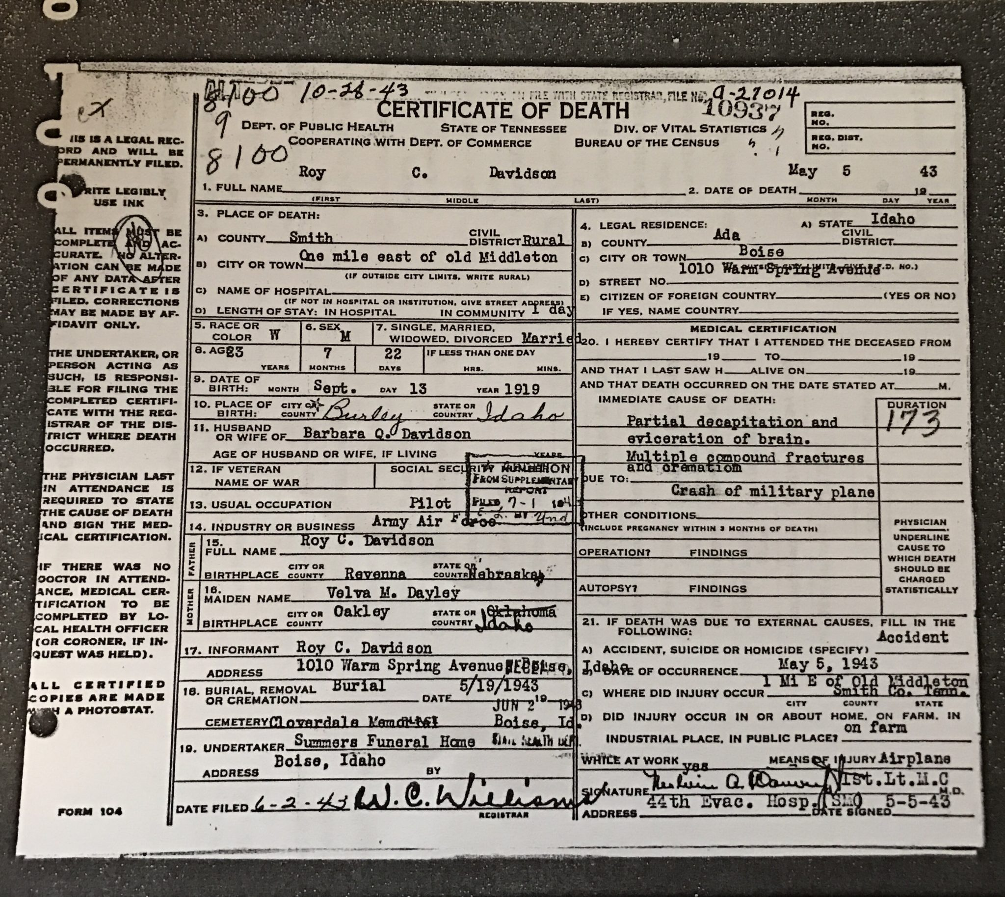 Wwii plane crash discovered in new middleton smith county insider click here to see a copy of davidsons death certificate 1betcityfo Choice Image