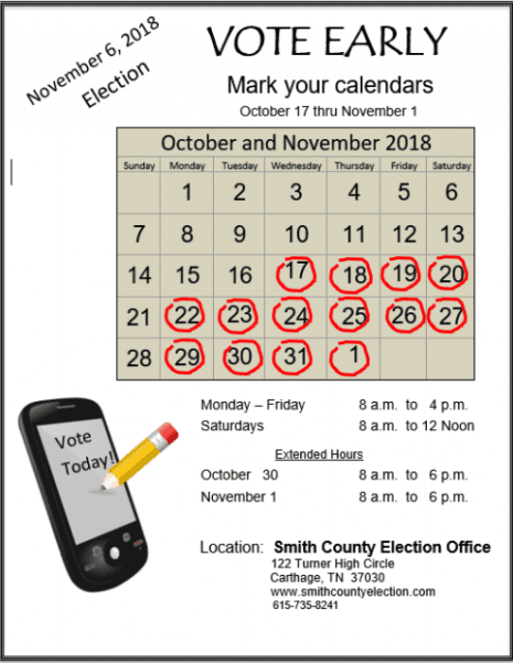 Early Voting Begins Across Tennessee | Smith County Insider